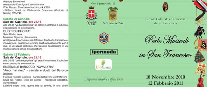 Dal 18 Novembre al 12 Febbraio – Perle musicali in San Francesco-Programma inverno 2010-2011